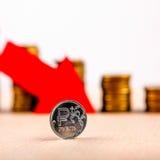 Rublo russa giù Immagini Stock