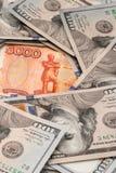 Rublo y dólar La lucha de la rublo y del dólar en el mundo financiero moderno Ratio de la moneda, concepto foto de archivo libre de regalías