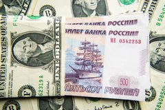 Rublos contra dólares Fotos de Stock Royalty Free