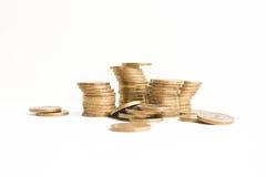 Rublos da pilha Em um fundo branco foto Imagem de Stock Royalty Free