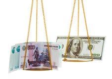 Rublos da troca em dólares Imagem de Stock