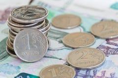 Rublos das moedas Fotografia de Stock