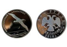 Rublos de plata del ruso dos con el albatros Fotografía de archivo libre de regalías