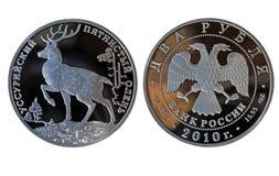 Rublos de plata del ruso dos con los ciervos Foto de archivo libre de regalías