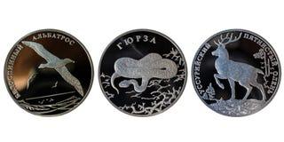 Rublos de plata rusas Fotos de archivo libres de regalías