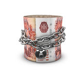 Rublos de russo acorrentados do rolo do dinheiro Fotografia de Stock Royalty Free