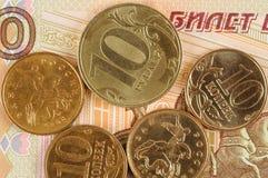 Rublos de russo e kopecks Foto de Stock Royalty Free
