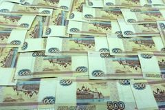 500 rublos de russo lucro do escritório da nota de poucas notas, Imagens de Stock Royalty Free