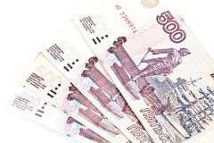 500 rublos de russo poucas notas. Foto de Stock Royalty Free