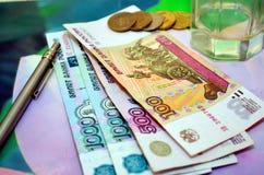 Rublos do dinheiro do russo Foto de Stock