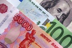 Rublos, euro e dólares Foto de Stock Royalty Free