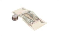 Rublos rusas de billetes de banco y monedas Foto de archivo