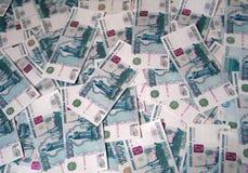 Rublos rusas de fondo Imagen de archivo