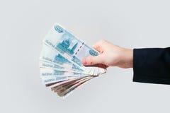 Rublos rusas de los billetes de banco Imagen de archivo libre de regalías