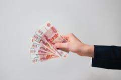 Rublos rusas de los billetes de banco Foto de archivo libre de regalías