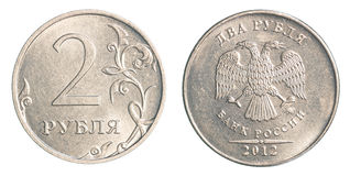 2 rublos rusas de moneda Foto de archivo libre de regalías
