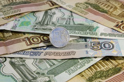 Rublos rusas de monedas Imagen de archivo libre de regalías