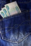 Rublos rusas de palillo fuera de vaqueros del cadera-bolsillo Imagen de archivo libre de regalías