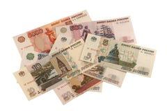 Rublos rusas. Diversos billetes de banco. Fotos de archivo libres de regalías