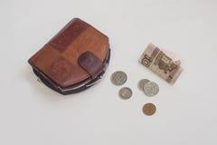 100 rublos y monedas Fotos de archivo libres de regalías