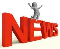 Rubriker och information om informationsbladshowmassmedia Arkivbild