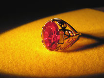 Ruby. Gilded ring with ruby Stock Photos