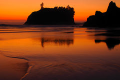 Ruby beach at sunset. Orange sunset over Ruby beach and coastline at low tide, Olympic National Park, Washington, U.S.A Stock Photo