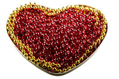 Ruby beads heart shaped. Yellow beads edging. Stock Image