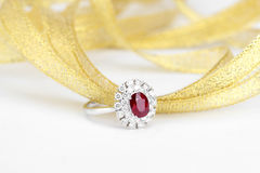 Ruby diamond ring Stock Images