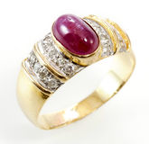 Ruby diamond ring Stock Photo