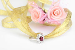 Ruby diamond ring Royalty Free Stock Photo