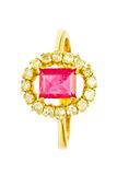 Ruby and Diamond Ring Stock Images