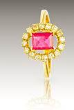 Ruby and Diamond Ring Royalty Free Stock Images