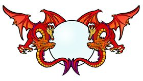 Ruby Dragons. Two red dragons dancing with a crystal ball vector illustration