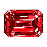 Ruby Emerald Over White Background Photos libres de droits