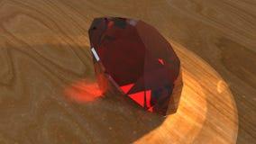 Ruby en la superficie de madera, representación 3d ilustración del vector