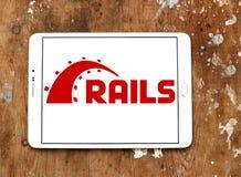 Ruby en logotipo del marco de la aplicación web de los carriles Fotografía de archivo libre de regalías
