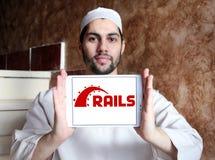 Ruby en logotipo del marco de la aplicación web de los carriles Foto de archivo libre de regalías