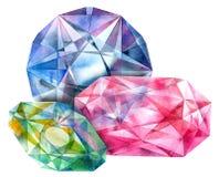 Ruby, esmeralda, diamante stock de ilustración