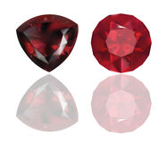 Ruby and Garnet Vector Realistic Illustration. Red Jewelry.  On White Background. Royalty Free Stock Photography