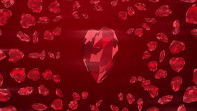 Ruby gem hearts on loop background stock footage