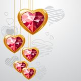Ruby gold hearts Stock Images