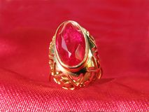 Ruby gold ring stock images