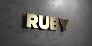 Ruby - Gold sign mounted on glossy marble wall - 3D rendered royalty free stock illustration. This image can be used for an online website banner ad or a print vector illustration
