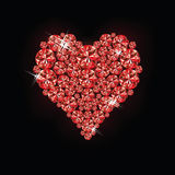 Ruby heart. Card, vector illustration Stock Images