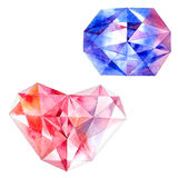 Ruby heart and blue diamond Royalty Free Stock Image