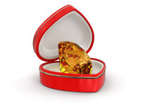 Ruby in the heart box (clipping path included) Royalty Free Stock Images