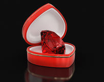 Ruby in the heart box (clipping path included) Stock Photos