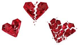 Ruby Heart Breaking. Red gem three steps shatter damage progress, 3d illustration, horizontal, isolated, over white Stock Photos