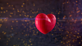 Ruby heart bursting with sparks. Ultra-high resolution 164th frame of 3D animation of Ruby heart bursting with sparks in slow-motion with shallow depth of field Stock Photography